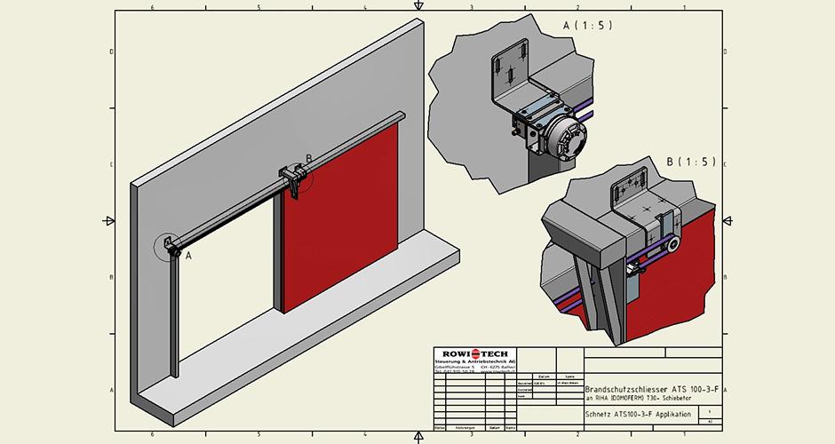 3D Applikationszeichnung von Brandschutzschliesseinrichtung ATS100 3F